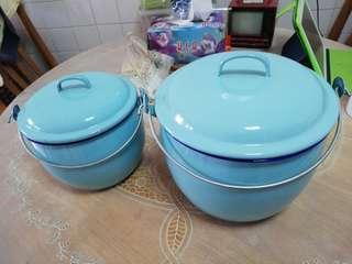 Vintage Enamel pots 1970's unused