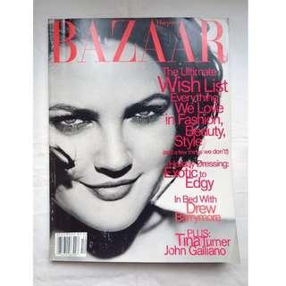 【1996年12月號 US Harper's Bazaar】 封面主角- 女星Drew Barrymore -懷舊時裝雜誌珍藏