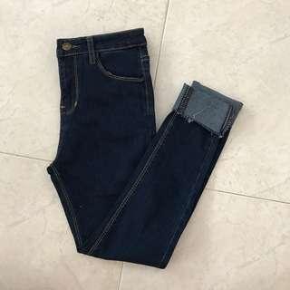 👖Uk8 Dark Blue Denim High Waisted Jeans