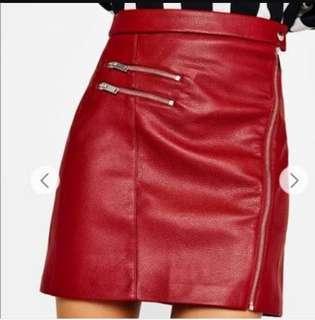 Bershka red leather hi waist skirt