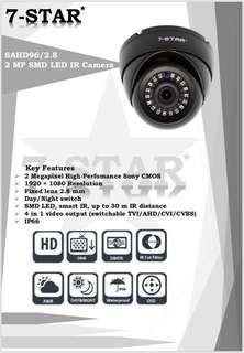 CCTV-7-STAR* 2MP Full HD 1080P High Performance SONY Starvis indoor/outdoor Smart 18IR Security Dome/Bullet Camera (4 in 1 AHD/TVI/CVI/960H - Weatherproof - Vandal Resistant - 2.8mm Wide-Angle)
