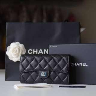 Authentic Chanel Black Caviar Trifold Long Wallet