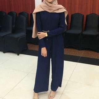 Navy Blue Culotte Jumpsuit / Jumpsuit Cullote / Jumpsuit Panjang / Celana Kulot / Jumpsuit Kulot Panjang