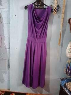 Jumpsuit ungu bahan spandek