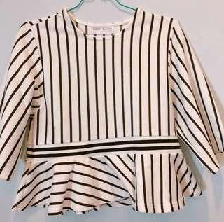 White Stripe Peplum Top