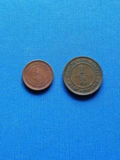 Strait settlement King George v quarter cent and half cent coin 1916