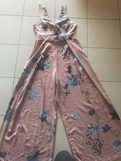 Floral self tie jumpsuit sexy dinner wear