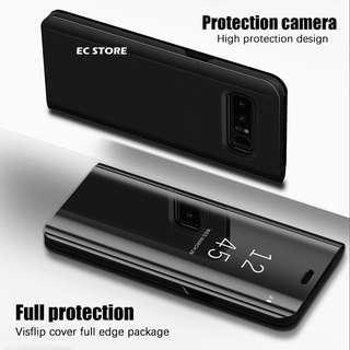 Mirror Clear View Flip Case Cover for S7 Edge S8 S8 S9 Plus