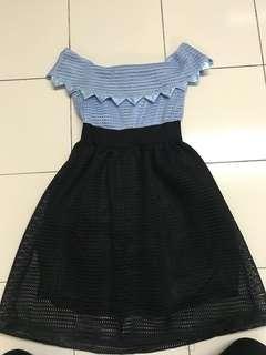 Princess elegant blue black office wear dinner dress off shoulder