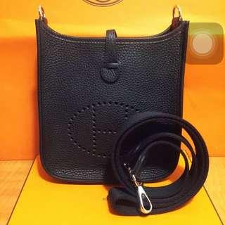 New Hermes 全新愛馬仕 迷你 Mini Evelyn Shoulder Bag Black 黑色斜咩袋