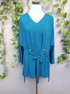 Plus size cold shoulder teal blouse