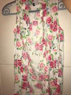 Floral and white sleeveless top