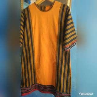 Dress lurik mix lurik ikat