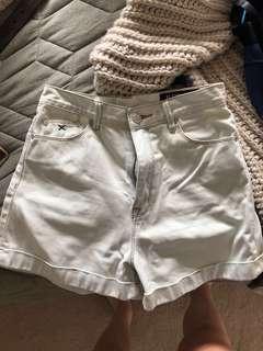High waisted light blue denim jean shorts