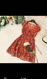 Floral V Tie Up dress