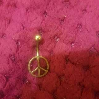 Silver Peace sign belly ring