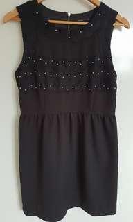Tokito Black Lace Beaded Dress