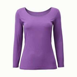 UNIQLO Heattech Scoopneck Long Sleeve (Purple M)