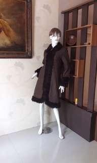 WOLL👍Long Coat Dark Brown Made In PARIS