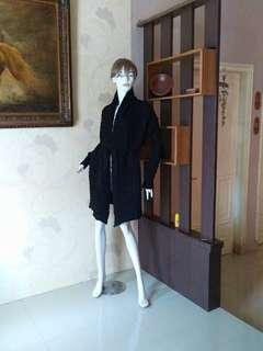 WOLL👍Made in PARIS Long Coat Winter Black