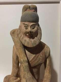 Extraordinary 56cm (h) Chinese Earthenware Statue, Polychrome Painted; Pre-1900. Estate Clearance!