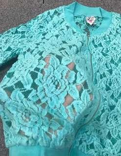 減‼️Tiffany Blue Lace Jacket 喱士外套 Lady Top