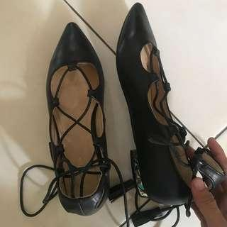 zalora black tied shoes NEW