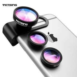3-in-1 Phone Camera Lens Kit Aluminum Clip-On Fisheye Lens Wide Angle Macro Lens