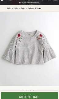 半價 (全新未開封) Hollister Embroidered Bell-Sleeve Tshirt