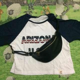 PullnBear Arizona raglan crop tee