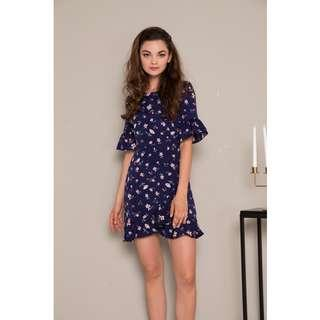 🚚 BN TSW Soren Floral Ruffles Dress in Navy