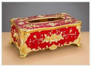 🚚 歐美面紙盒 精品面紙盒 紅色黃金 24*12.5*9.5