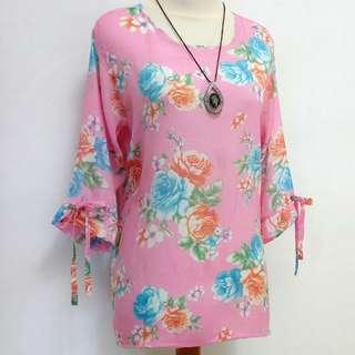 Atasan~pink flower motif