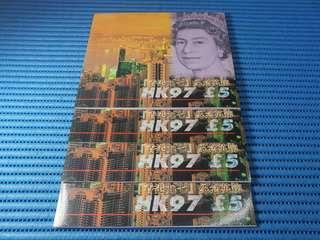 4X 1997 United Kingdom HK97 £5 Pounds Note Commemorative Banknote with Folder HK97 188019-188022 Run