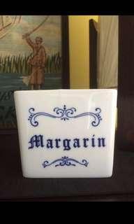 White Margarine Clay Container Mug Holder Kitchen Breakfast
