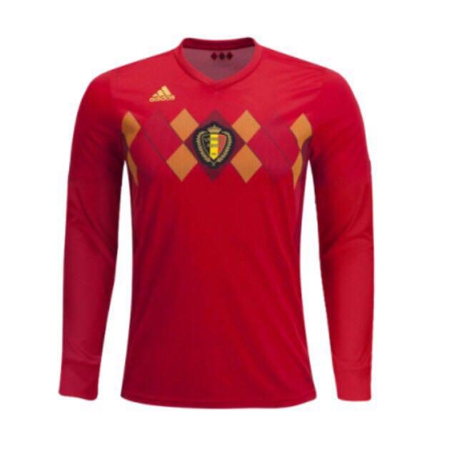 dd0ac8fd4 2018 Belgium Men s Long Sleeve Home kit jersey