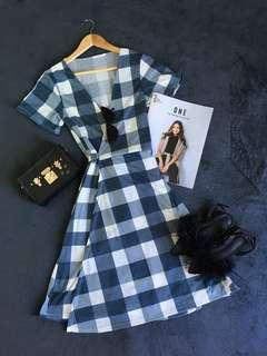 Wrap Around Plaid Dress