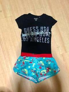 Puma shorts and Guess tee