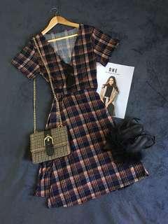 Wrap-around Vintage Design Plaid Dress