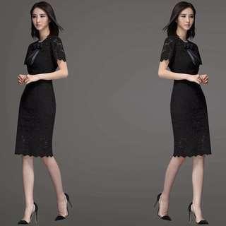 🚚 2017新款性感蕾絲中長裙修身氣質黑色洋裝