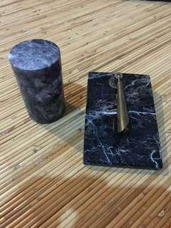Vintage/Classic Marble pen holder and round box