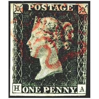 1840年英國黑便士 (版號HA, 寄賣品,)