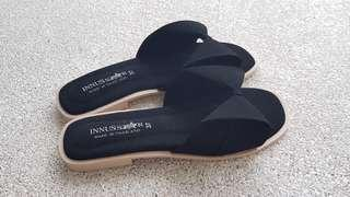 Pretty black ribbon flats slip-on slippers