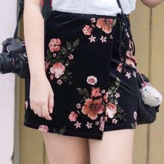 TOPSHOP velvet floral wrap skirt