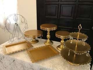 [Rent] Golden Cake Stand Decor Set