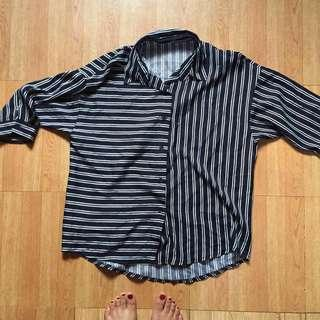 Navy Blue Striped 3/4 Sleeve Button Down Top