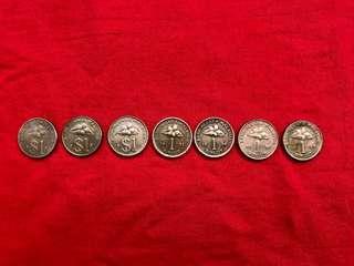 Duit Syiling 1990, 1991, 1992, 1993, 1994, 1995 & 1996