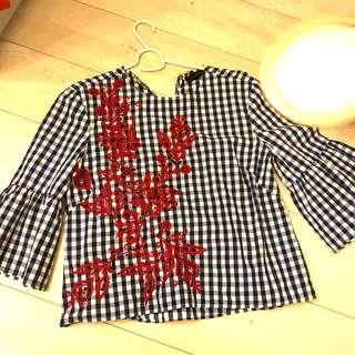 Beautiful Zara gingham TOP with embroidery