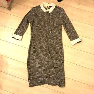 Preppy Dorothy Perkins dress in grey Marle and white collar