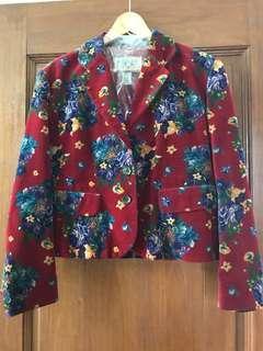 Designer KENZO JEANS Red Floral Suede Cropped Blazer Jacket M